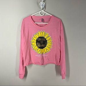 Simply Southern Crop Top Longsleeve T, Pink, Large